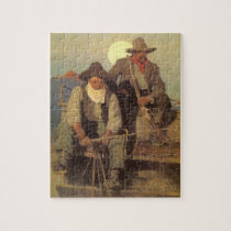 Vintage Cowboys, The Pay Stage by NC Wyeth Jigsaw Puzzle