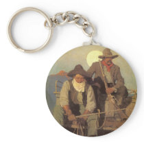 Vintage Cowboys, The Pay Stage by NC Wyeth Keychain
