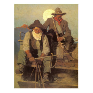 Vintage Cowboys, The Pay Stage by NC Wyeth Postcard