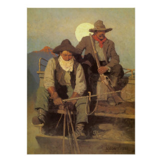 Vintage Cowboys, The Pay Stage by NC Wyeth Poster