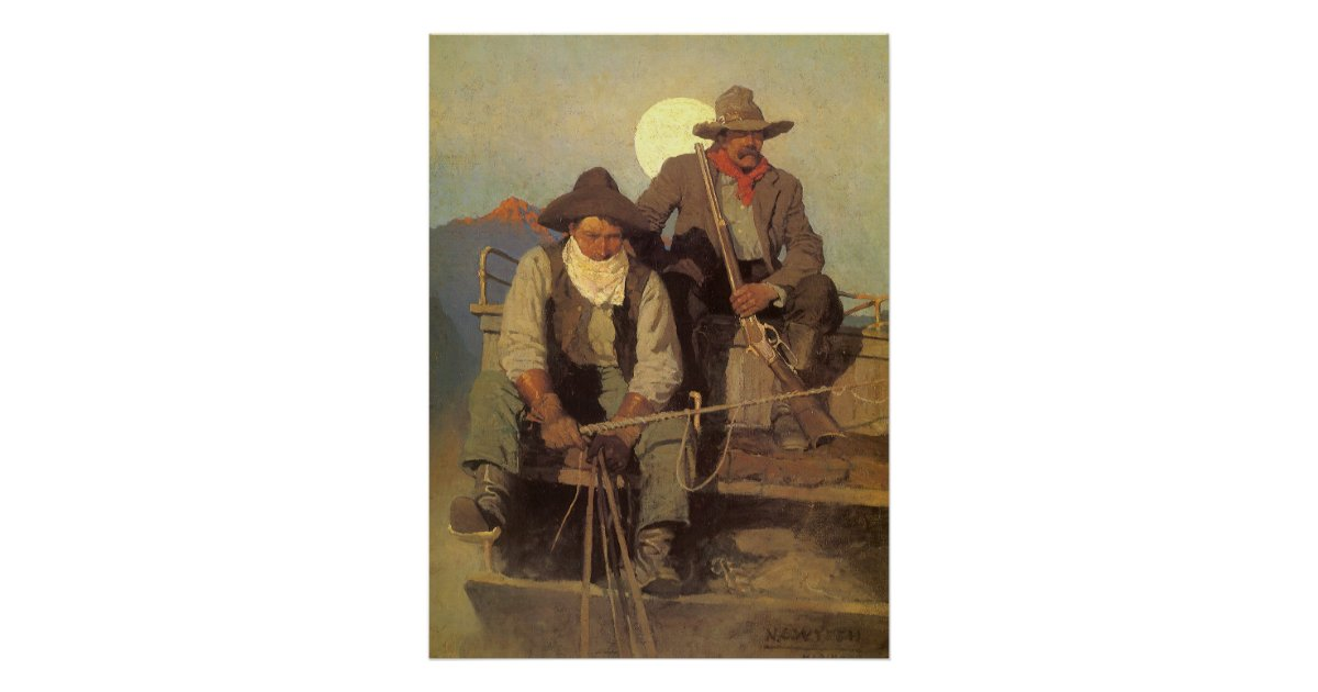 Vintage Cowboys The Pay Stage By NC Wyeth Poster