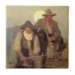 Vintage Cowboys, The Pay Stage by NC Wyeth Small Square Tile