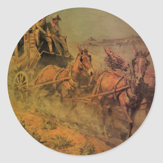 Vintage Cowboys, The Stage Coach by John Borein Classic Round Sticker
