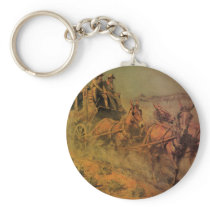 Vintage Cowboys, The Stage Coach by John Borein Keychain
