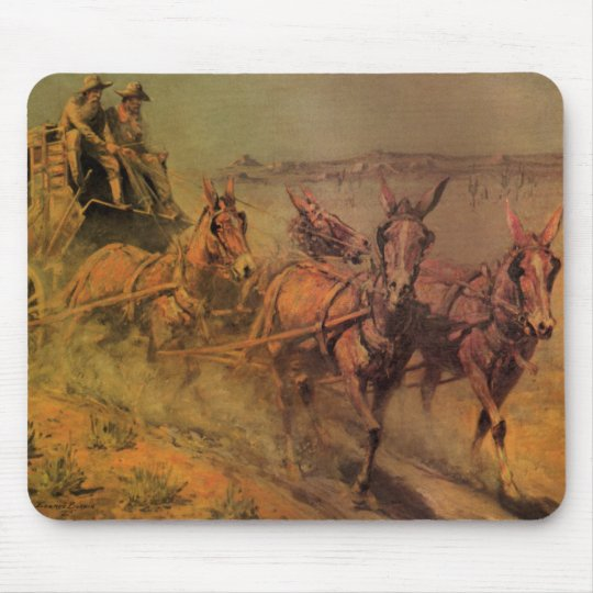Vintage Cowboys, The Stage Coach by John Borein Mouse Pad