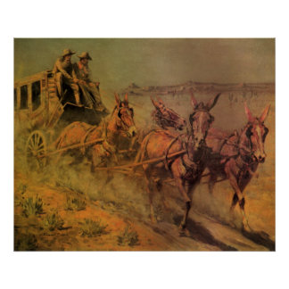 Vintage Cowboys, The Stage Coach by John Borein Poster