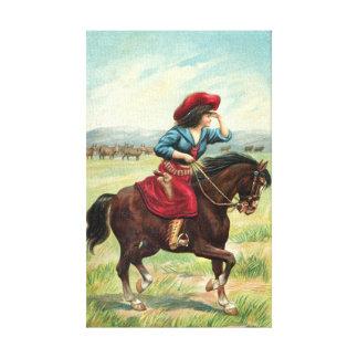 "Vintage Cowgirl 9""x14.5"" Canvas Print"