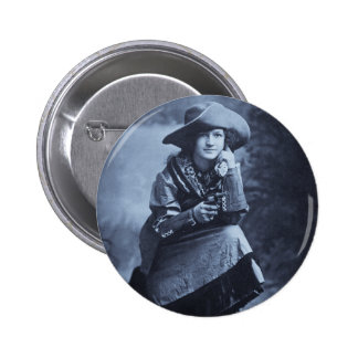 Vintage Cowgirl and Her Six Shooter Button