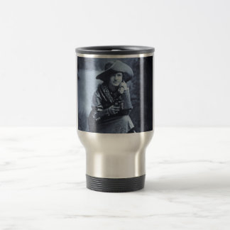 Vintage Cowgirl and Her Six Shooter Travel Mug