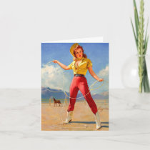 Vintage Cowgirl and Horse Birthday Card