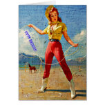 Vintage Cowgirl Birthday Stationery Note Card