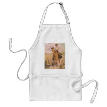 Vintage Cowgirl Cowboy, Woman on Horse by Dunton Adult Apron