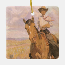 Vintage Cowgirl Cowboy, Woman on Horse by Dunton Ceramic Ornament