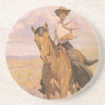 Vintage Cowgirl Cowboy, Woman on Horse by Dunton Drink Coaster
