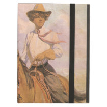 Vintage Cowgirl Cowboy, Woman on Horse by Dunton iPad Air Case