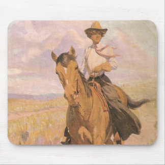 Vintage Cowgirl Cowboy, Woman on Horse by Dunton Mouse Pad