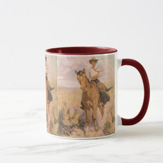 Vintage Cowgirl Cowboy, Woman on Horse by Dunton Mug