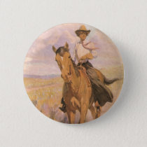 Vintage Cowgirl Cowboy, Woman on Horse by Dunton Pinback Button