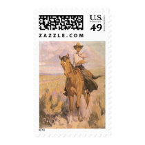 Vintage Cowgirl Cowboy, Woman on Horse by Dunton Postage