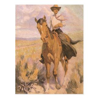 Vintage Cowgirl Cowboy, Woman on Horse by Dunton Postcard