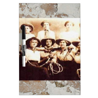 Vintage Cowgirl Group Photo Western Rodeo Dry-Erase Board