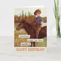 Vintage Cowgirl & Horse Birthday Card