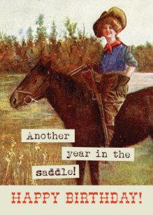 Vintage Cowgirl Horse Birthday Card