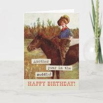 Vintage Cowgirl & Horse Birthday Card