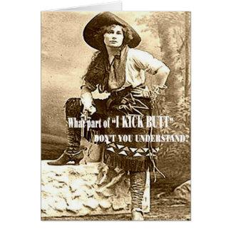 "Vintage Cowgirl ""I KICK BUTT"" Custom Blank Card"