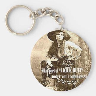 "Vintage Cowgirl ""I KICK BUTT"" Keychain"