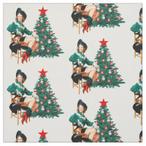 Vintage Cowgirl On Chair With Christmas Tree Fabri Fabric