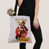 "Vintage Cowgirl On Horse Fixin"" To Get Western Tote Bag"