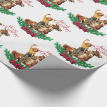 Vintage Cowgirl On Horse Merry Christmas Wrapping Paper