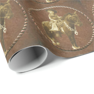Vintage Cowgirl On Horse Western Paper Wrapping Paper