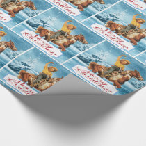 Vintage Cowgirl On Horse Winter  Merry Christmas Wrapping Paper