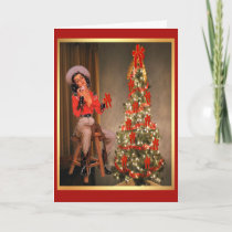 Vintage Cowgirl On Saddle With Christmas Tree Holiday Card