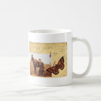 Vintage Cowgirl Photo Horse Butterfly Postcard Coffee Mug