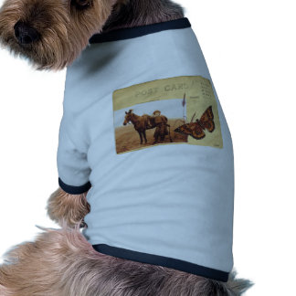 Vintage Cowgirl Photo Horse Butterfly Postcard Dog Tee Shirt