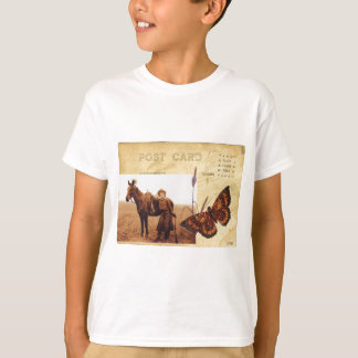 Vintage Cowgirl Photo Horse Butterfly Postcard T-Shirt
