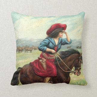 """Vintage Cowgirl Pillow """"Eye on the Horizon"""""""