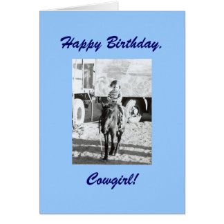 Vintage Cowgirl Pony Birthday Wishes Greeting Card