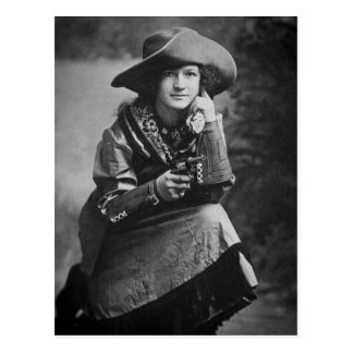 Vintage Cowgirl Posing with Her Six Shooter Postcard