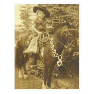 VINTAGE COWGIRL POSTCARD OR INVITATION