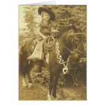 VINTAGE COWGIRL RODEO GREETING CARD