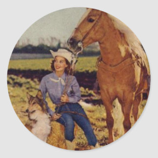 Vintage Cowgirl Round Stickers