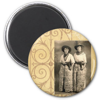 Vintage Cowgirl Sisters Western Photo Art 2 Inch Round Magnet