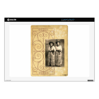 Vintage Cowgirl Sisters Western Photo Art Laptop Decal