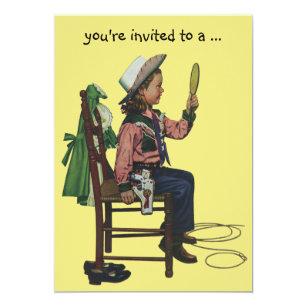 Vintage Cowgirl Sleepover Girl Birthday Party Invitation