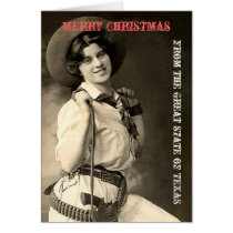 Vintage Cowgirl Texas Merry Christmas Card
