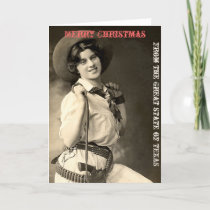 Vintage Cowgirl Texas Merry Christmas Holiday Card